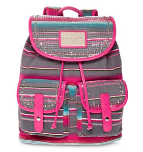 grey striped backpack