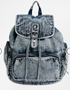 acid wash denim backpack