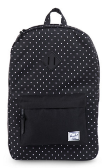 black and white polka dot backpack