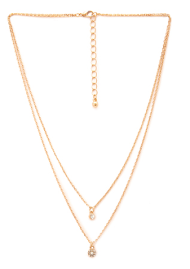 rhinestone charm necklace f21