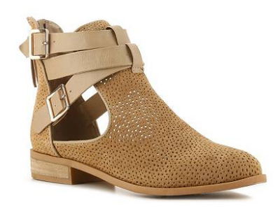 cutout low heel booties