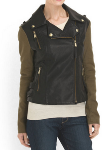 twill and faux leather moto jacket