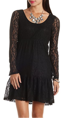 black lace babydoll dress