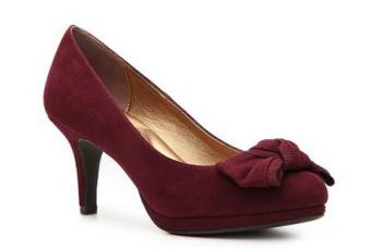 burgundy bow heels