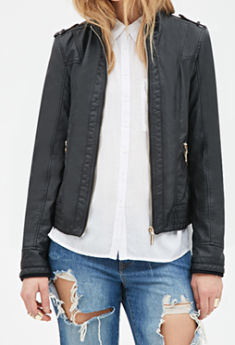 faux leather moto jacket black and grey