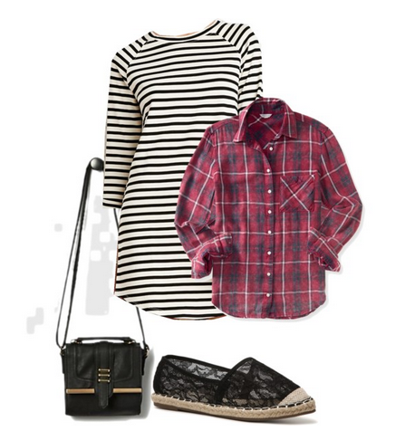 Raglan-Sleeved Stripe Dress in Ivory/Black - $19.90 at Forever 21; Long Sleeve Acid Wash Plaid Woven Shirt in Plumeria - $28.00 at Aéropostale; GC Shoes Bloomy Flat in Black - $39.94 at DSW; Black Tropical Escape Cross Body Bag by Rampage - $19.99 at Rue 21