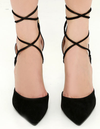 michele black lace-up heels Lulus