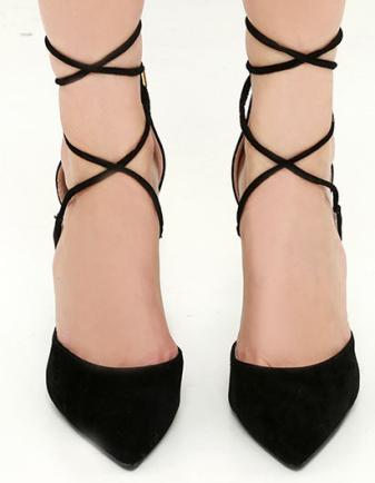 michele black lace-up heels Lulus