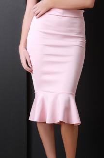 pink midi skirt urbanog