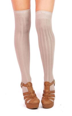 ridge thigh high socks pink ice
