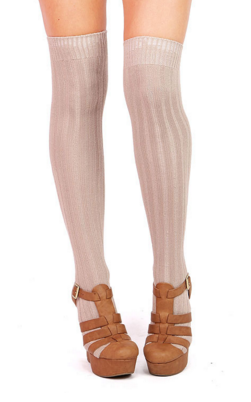 ridge thigh high socks pink ice